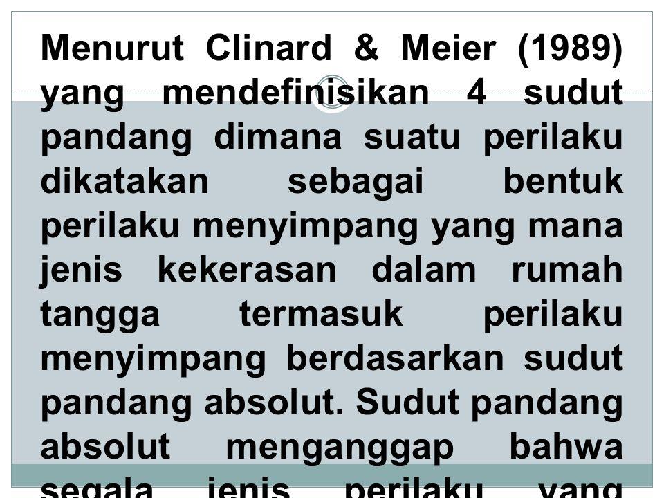 Menurut Clinard & Meier (1989) yang mendefinisikan 4 sudut pandang dimana suatu perilaku dikatakan sebagai bentuk perilaku menyimpang yang mana jenis kekerasan dalam rumah tangga termasuk perilaku menyimpang berdasarkan sudut pandang absolut.