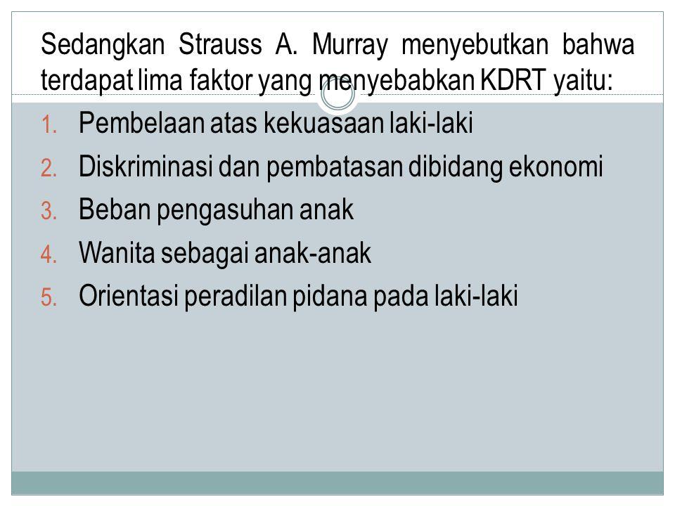Sedangkan Strauss A.Murray menyebutkan bahwa terdapat lima faktor yang menyebabkan KDRT yaitu: 1.