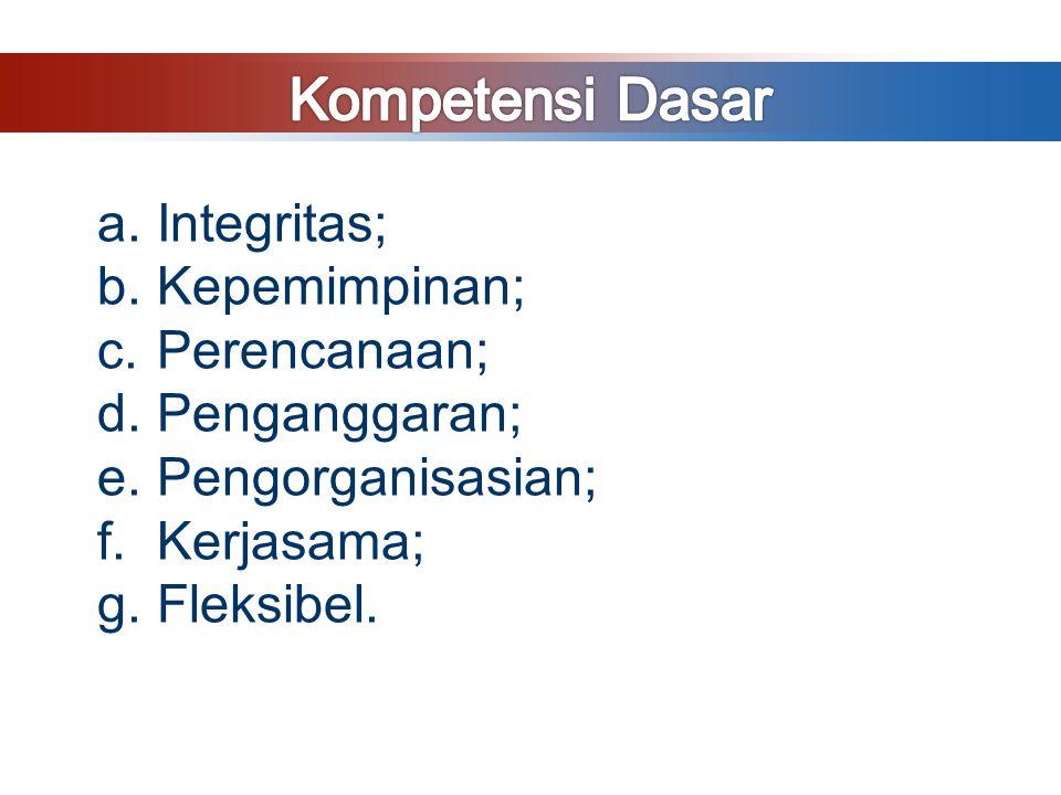 a.Integritas; b.Kepemimpinan; c.Perencanaan; d.Penganggaran; e.Pengorganisasian; f.Kerjasama; g.Fleksibel.