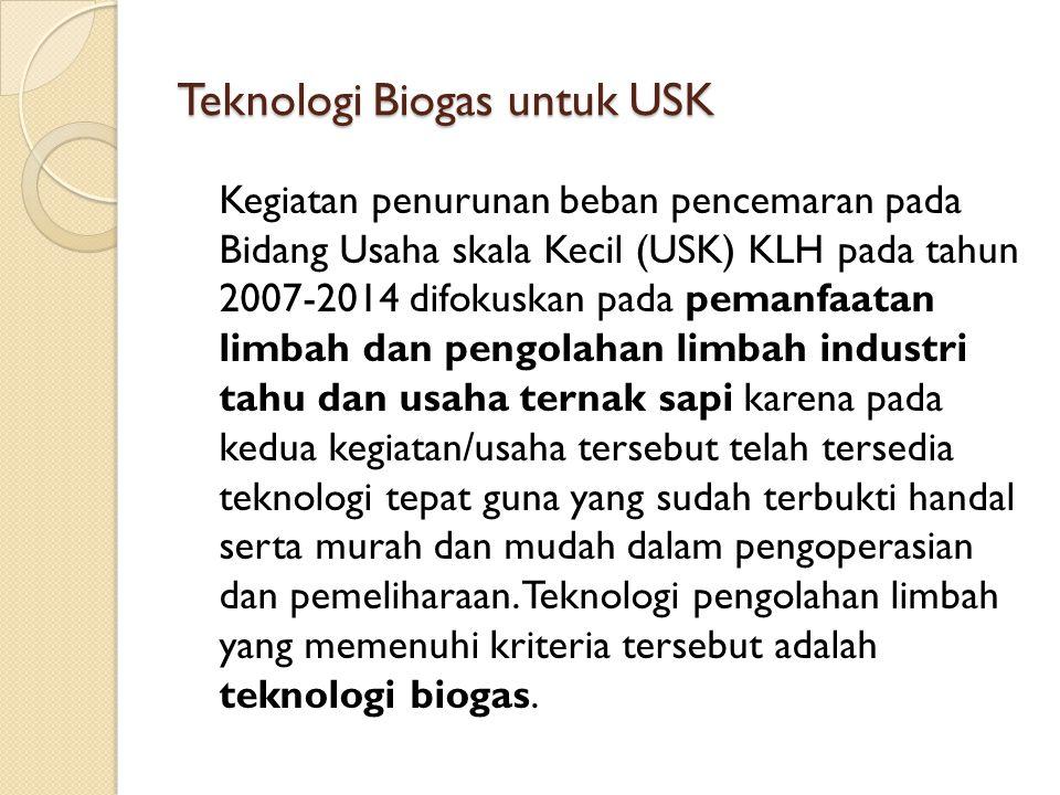 Teknologi Biogas untuk USK Kegiatan penurunan beban pencemaran pada Bidang Usaha skala Kecil (USK) KLH pada tahun 2007-2014 difokuskan pada pemanfaata