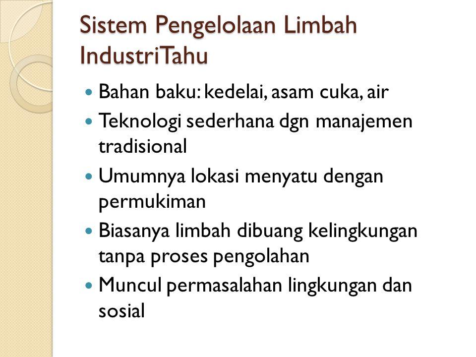 Sistem Pengelolaan Limbah IndustriTahu  Bahan baku: kedelai, asam cuka, air  Teknologi sederhana dgn manajemen tradisional  Umumnya lokasi menyatu