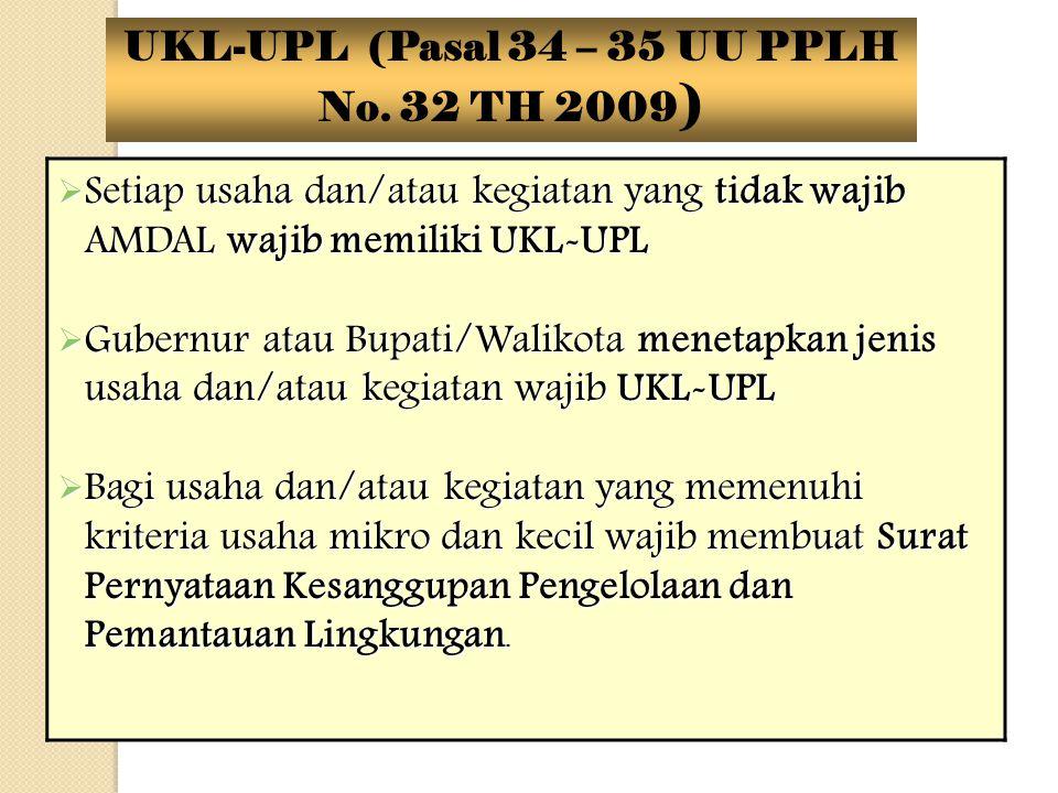  Setiap usaha dan/atau kegiatan yang tidak wajib AMDAL wajib memiliki UKL-UPL  Gubernur atau Bupati/Walikota menetapkan jenis usaha dan/atau kegiata