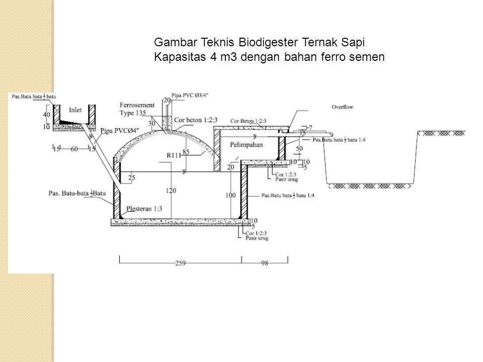 Gambar Teknis Biodigester Ternak Sapi Kapasitas 4 m3 dengan bahan ferro semen