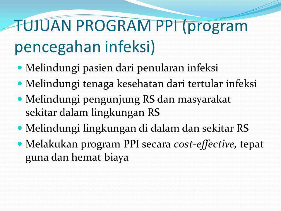 TUJUAN PROGRAM PPI (program pencegahan infeksi)  Melindungi pasien dari penularan infeksi  Melindungi tenaga kesehatan dari tertular infeksi  Melin