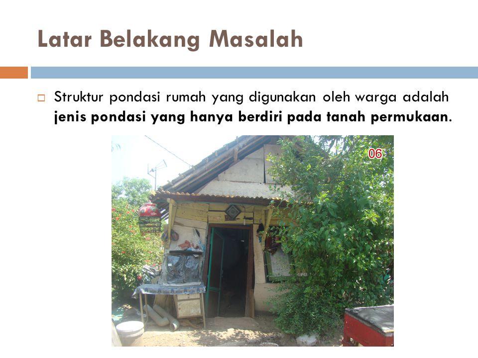 Latar Belakang Masalah  Struktur pondasi rumah yang digunakan oleh warga adalah jenis pondasi yang hanya berdiri pada tanah permukaan.
