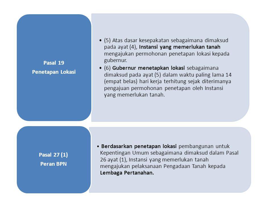 •(5) Atas dasar kesepakatan sebagaimana dimaksud pada ayat (4), Instansi yang memerlukan tanah mengajukan permohonan penetapan lokasi kepada gubernur.