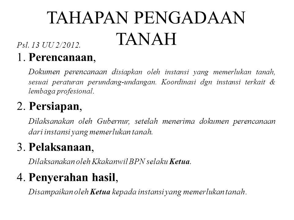 TAHAPAN PENGADAAN TANAH Psl. 13 UU 2/2012. 1.Perencanaan, Dokumen perencanaan d isiapkan oleh instansi yang memerlukan tanah, sesuai peraturan perunda