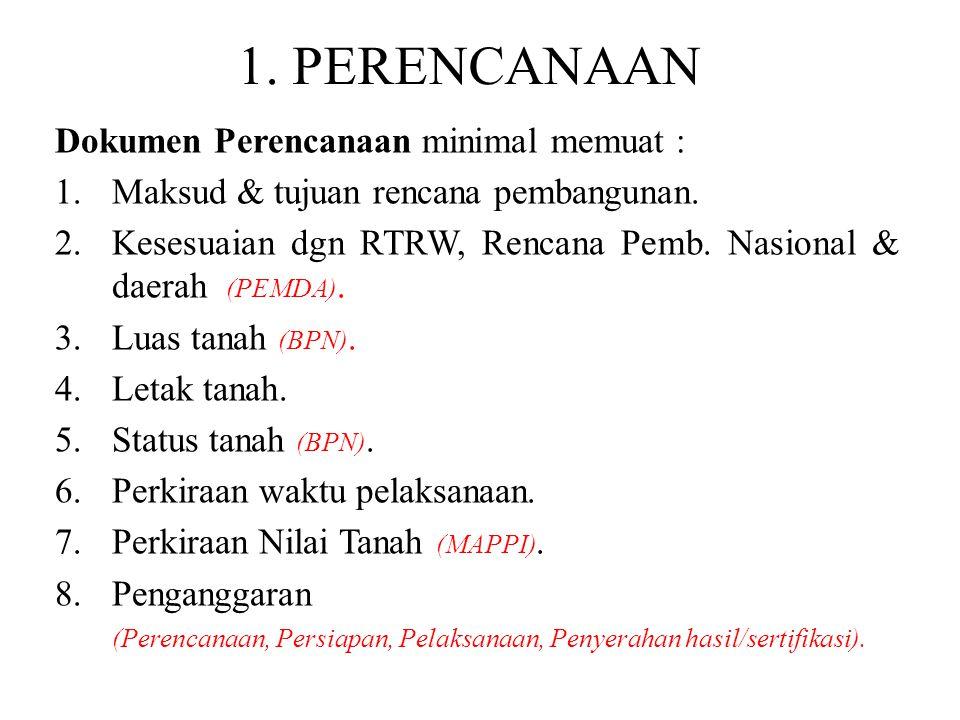 1. PERENCANAAN Dokumen Perencanaan minimal memuat : 1.Maksud & tujuan rencana pembangunan. 2.Kesesuaian dgn RTRW, Rencana Pemb. Nasional & daerah (PEM