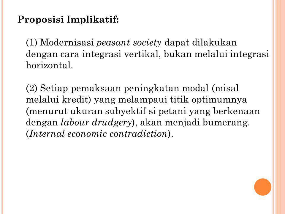 Proposisi Implikatif: (1) Modernisasi peasant society dapat dilakukan dengan cara integrasi vertikal, bukan melalui integrasi horizontal. (2) Setiap p