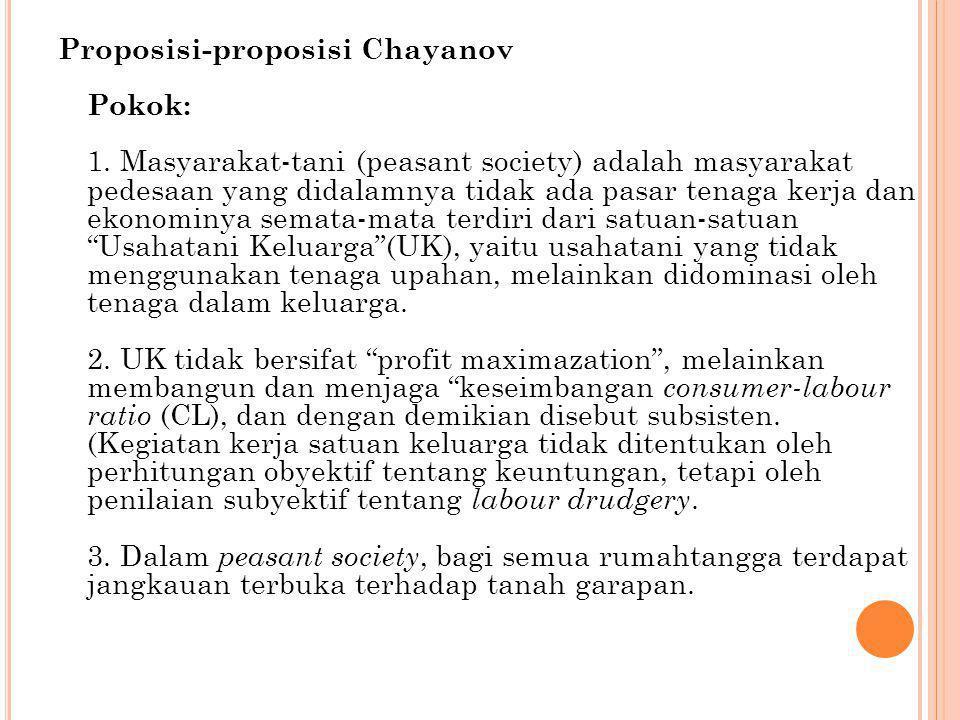 Proposisi-proposisi Chayanov Pokok: 1. Masyarakat-tani (peasant society) adalah masyarakat pedesaan yang didalamnya tidak ada pasar tenaga kerja dan e