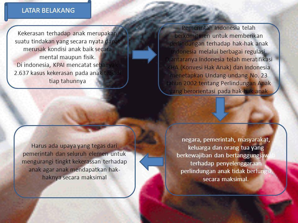 LATAR BELAKANG Kekerasan terhadap anak merupakan suatu tindakan yang secara nyata dapat merusak kondisi anak baik secara mental maupun fisik. Di indon