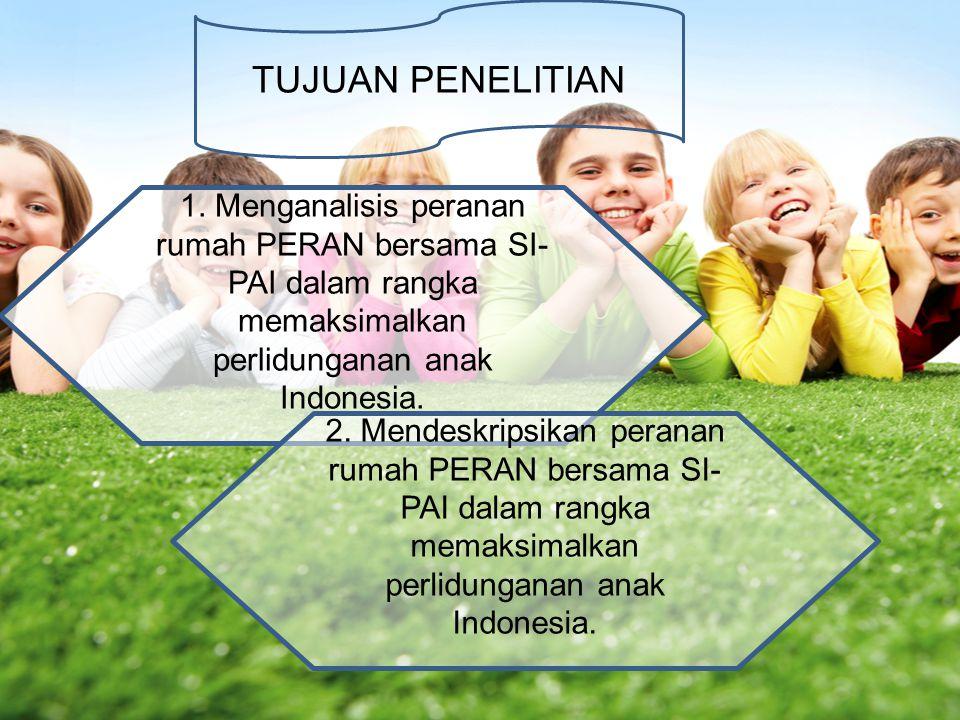 TUJUAN PENELITIAN 1. Menganalisis peranan rumah PERAN bersama SI- PAI dalam rangka memaksimalkan perlidunganan anak Indonesia. 2. Mendeskripsikan pera