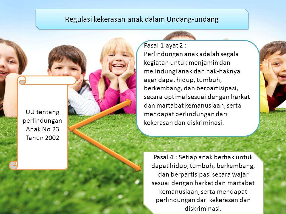 Regulasi kekerasan anak dalam Undang-undang UU tentang perlindungan Anak No 23 Tahun 2002 Pasal 1 ayat 2 : Perlindungan anak adalah segala kegiatan un