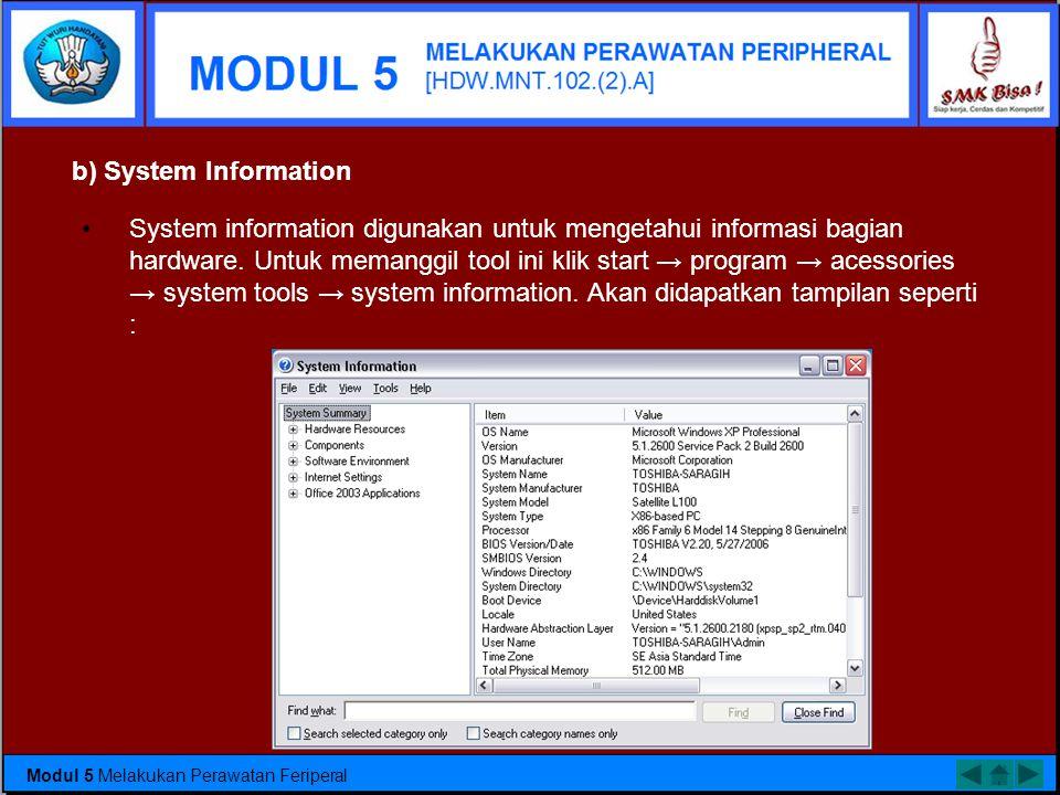 •Dari tampilan Device manager dapat diketahui semua hardware yang terpasang pada PC. Tool ini dapat digunakan untuk disable/enable hardware yang dipas