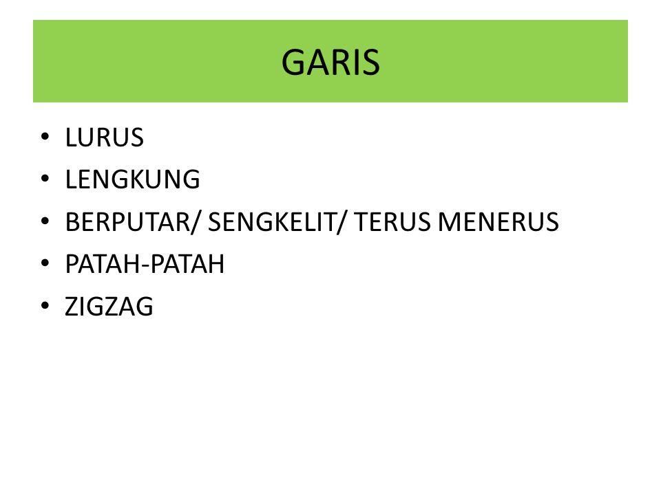 GARIS • LURUS • LENGKUNG • BERPUTAR/ SENGKELIT/ TERUS MENERUS • PATAH-PATAH • ZIGZAG