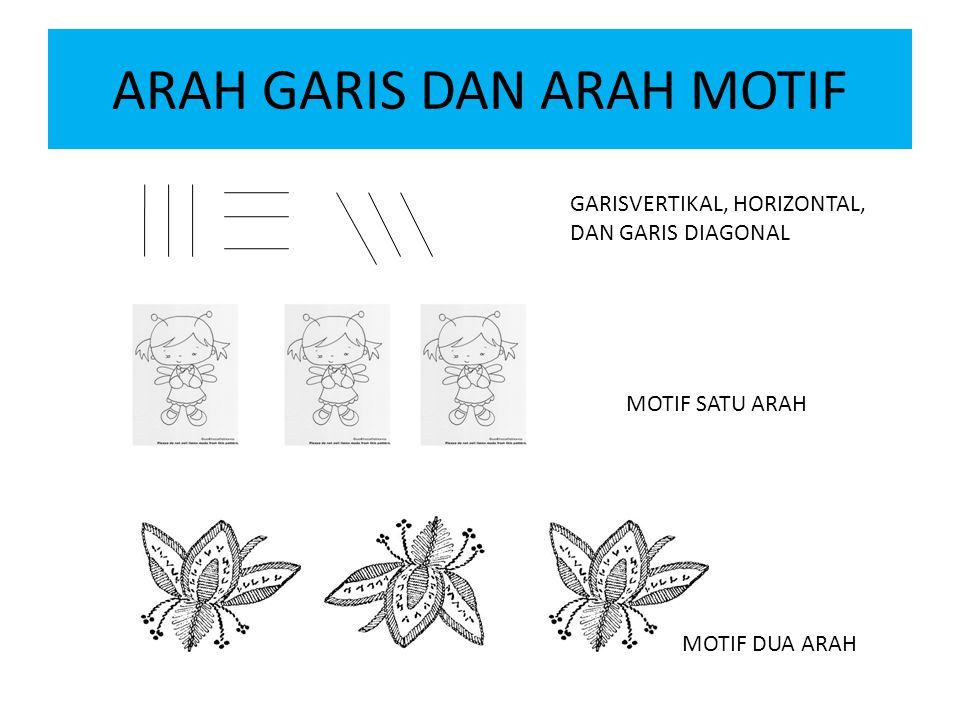 ARAH GARIS DAN ARAH MOTIF GARISVERTIKAL, HORIZONTAL, DAN GARIS DIAGONAL MOTIF SATU ARAH MOTIF DUA ARAH