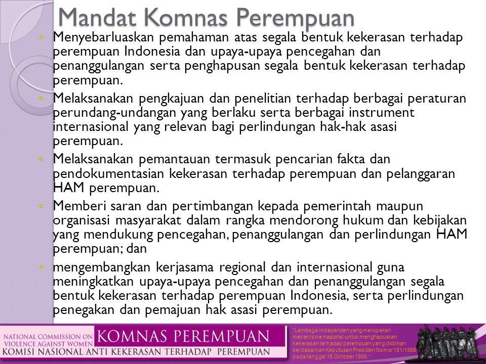 Lembaga independen yang merupakan mekanisme nasional untuk menghapuskan kekerasan terhadap perempuan yang didirikan berdasarkan Keputusan Presiden Nomor 181/1998 pada tanggal 15 Oktober 1998. Pasal 4 ; Pengaturan PRTA  Penentuan usia minimum untuk PRT berdasarkan K.ILO 138, K.ILO 182 tentang bentuk-bentuk terburuk pekerja anak.