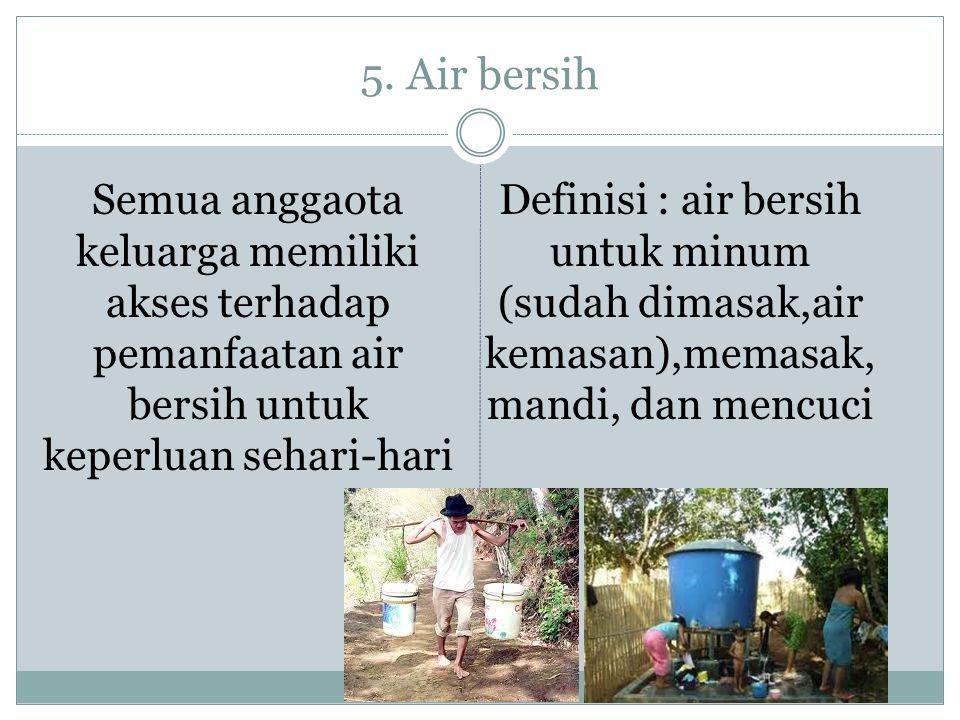 5. Air bersih Semua anggaota keluarga memiliki akses terhadap pemanfaatan air bersih untuk keperluan sehari-hari Definisi : air bersih untuk minum (su