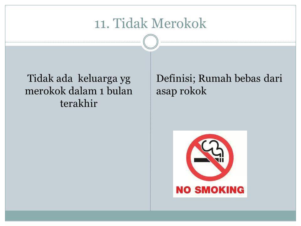 11. Tidak Merokok Tidak ada keluarga yg merokok dalam 1 bulan terakhir Definisi; Rumah bebas dari asap rokok