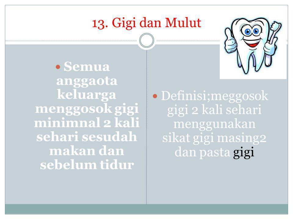 13. Gigi dan Mulut  Semua anggaota keluarga menggosok gigi minimnal 2 kali sehari sesudah makan dan sebelum tidur  Definisi;meggosok gigi 2 kali seh