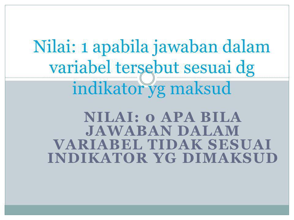 NILAI: 0 APA BILA JAWABAN DALAM VARIABEL TIDAK SESUAI INDIKATOR YG DIMAKSUD Nilai: 1 apabila jawaban dalam variabel tersebut sesuai dg indikator yg ma