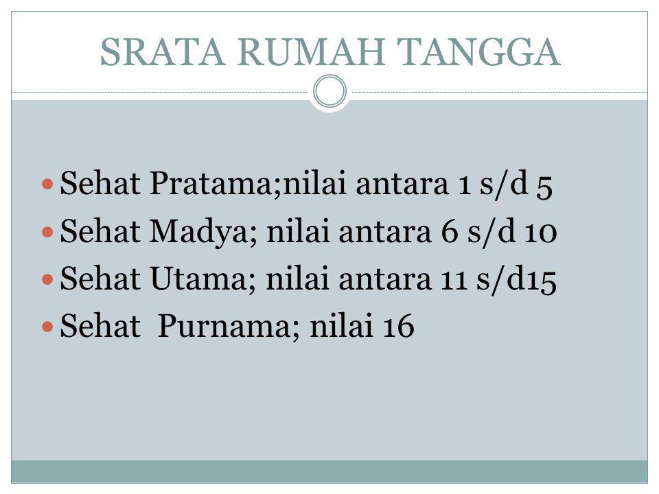 SRATA RUMAH TANGGA  Sehat Pratama;nilai antara 1 s/d 5  Sehat Madya; nilai antara 6 s/d 10  Sehat Utama; nilai antara 11 s/d15  Sehat Purnama; nil