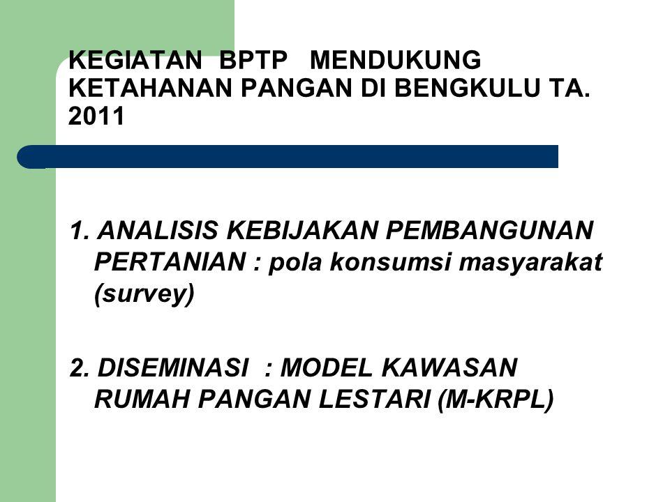 KEGIATAN BPTP MENDUKUNG KETAHANAN PANGAN DI BENGKULU TA. 2011 1. ANALISIS KEBIJAKAN PEMBANGUNAN PERTANIAN : pola konsumsi masyarakat (survey) 2. DISEM