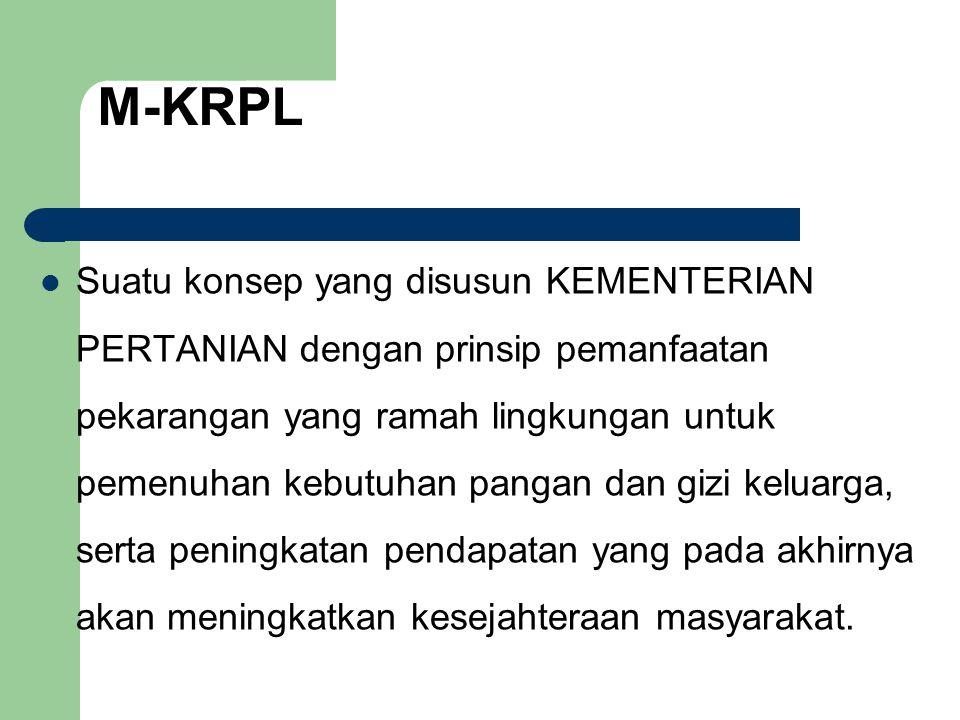 M-KRPL  Suatu konsep yang disusun KEMENTERIAN PERTANIAN dengan prinsip pemanfaatan pekarangan yang ramah lingkungan untuk pemenuhan kebutuhan pangan