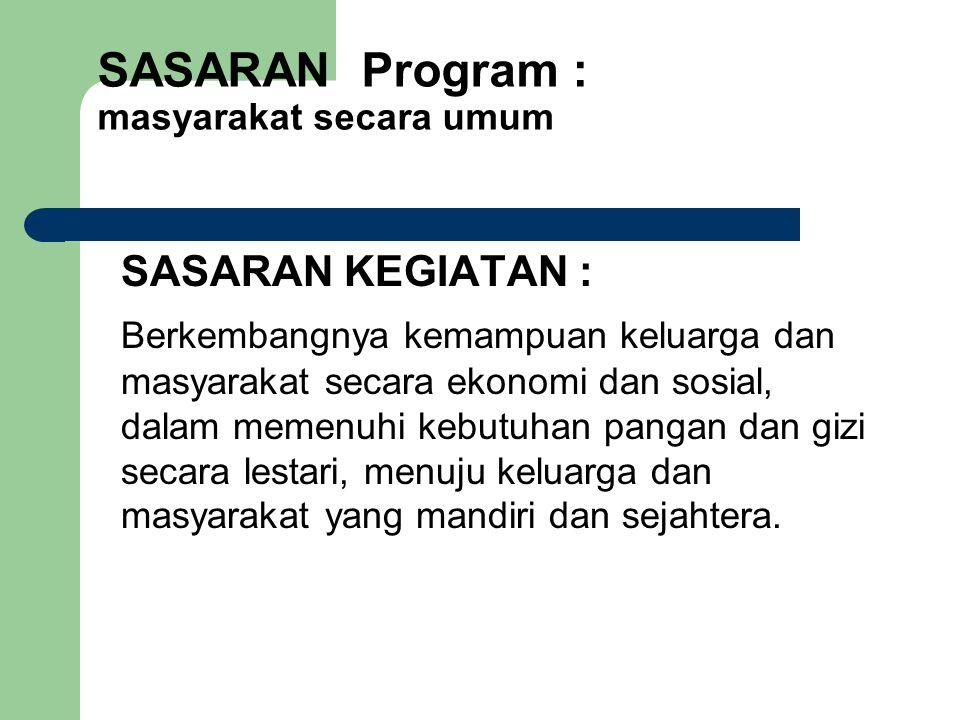 SASARAN Program : masyarakat secara umum SASARAN KEGIATAN : Berkembangnya kemampuan keluarga dan masyarakat secara ekonomi dan sosial, dalam memenuhi