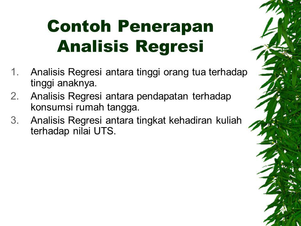 Contoh Penerapan Analisis Regresi 1. Analisis Regresi antara tinggi orang tua terhadap tinggi anaknya. 2. Analisis Regresi antara pendapatan terhadap