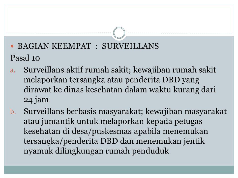  BAGIAN KEEMPAT : SURVEILLANS Pasal 10 a. Surveillans aktif rumah sakit; kewajiban rumah sakit melaporkan tersangka atau penderita DBD yang dirawat k