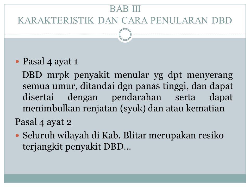BAB III KARAKTERISTIK DAN CARA PENULARAN DBD  Pasal 4 ayat 1 DBD mrpk penyakit menular yg dpt menyerang semua umur, ditandai dgn panas tinggi, dan da