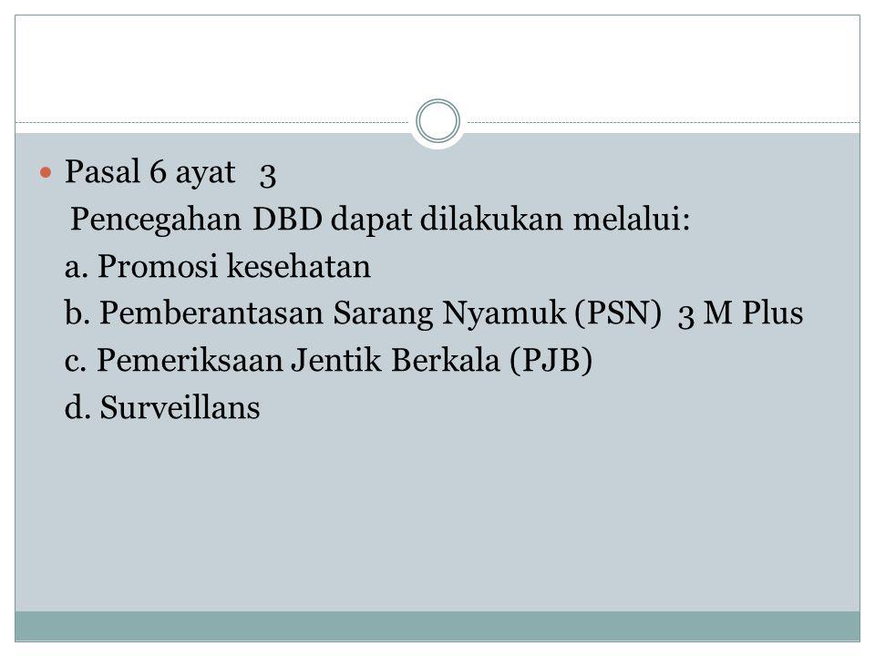  Pasal 6 ayat 3 Pencegahan DBD dapat dilakukan melalui: a. Promosi kesehatan b. Pemberantasan Sarang Nyamuk (PSN) 3 M Plus c. Pemeriksaan Jentik Berk