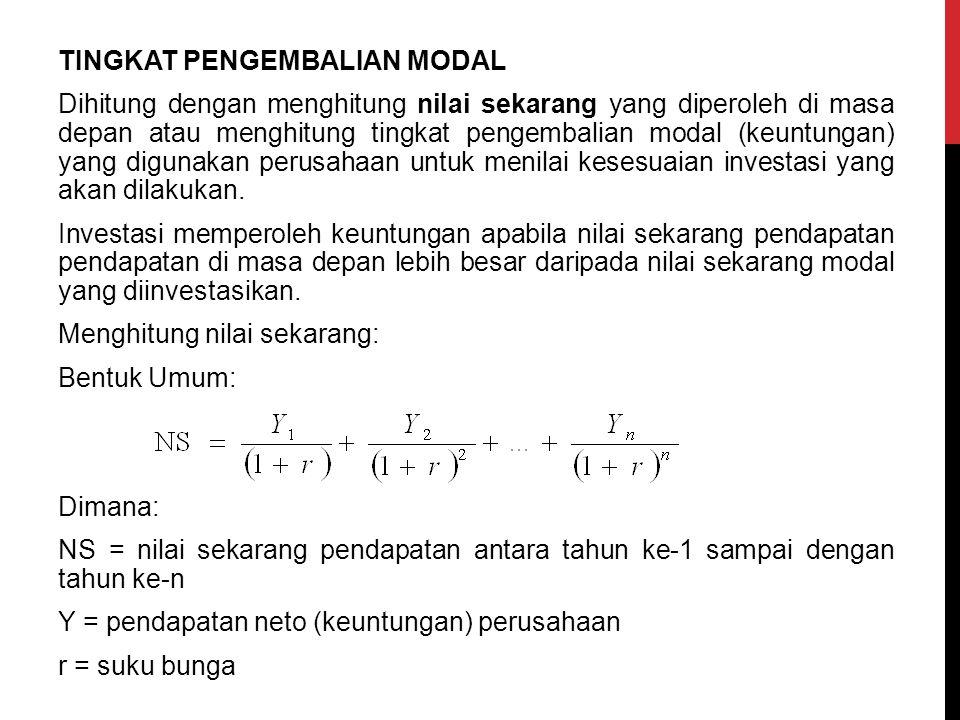 TINGKAT PENGEMBALIAN MODAL Dihitung dengan menghitung nilai sekarang yang diperoleh di masa depan atau menghitung tingkat pengembalian modal (keuntung