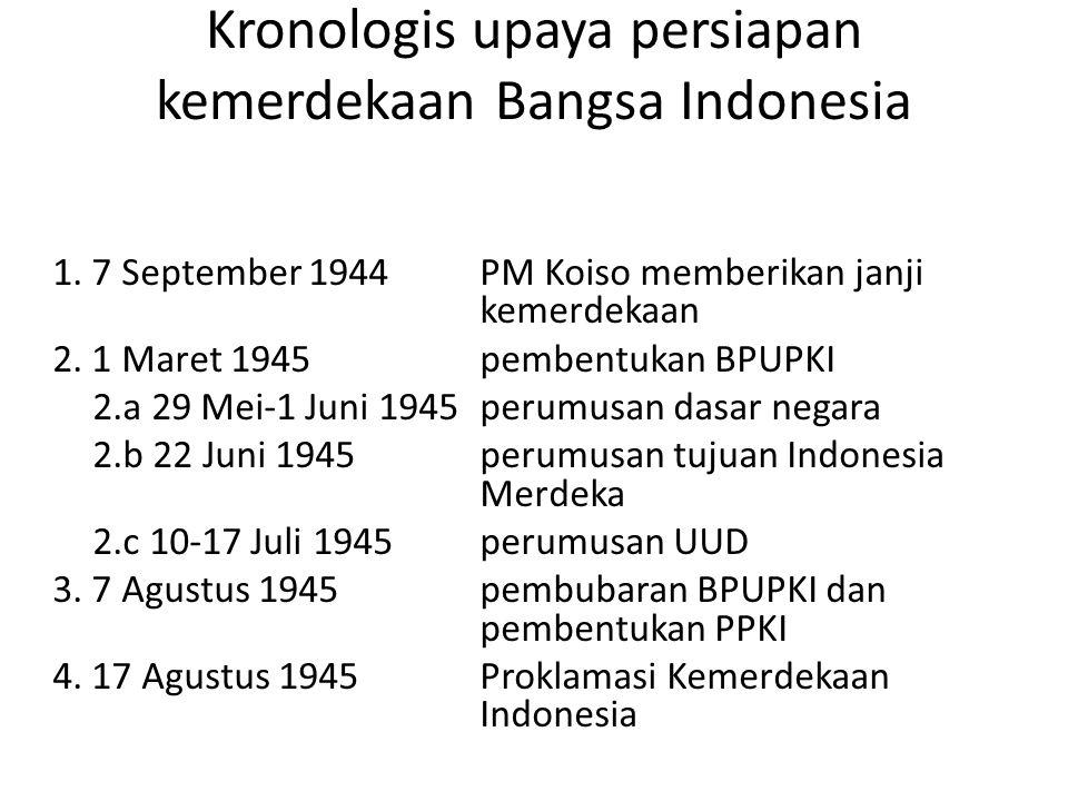 Kronologis upaya persiapan kemerdekaan Bangsa Indonesia 1. 7 September 1944 PM Koiso memberikan janji kemerdekaan 2. 1 Maret 1945 pembentukan BPUPKI 2