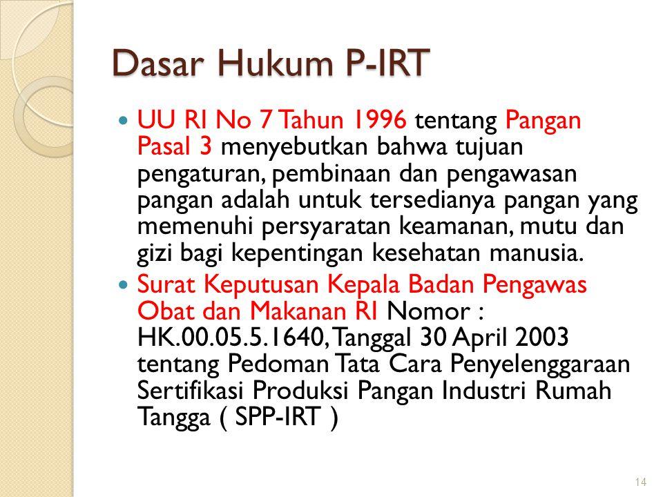 Dasar Hukum P-IRT  UU RI No 7 Tahun 1996 tentang Pangan Pasal 3 menyebutkan bahwa tujuan pengaturan, pembinaan dan pengawasan pangan adalah untuk ter