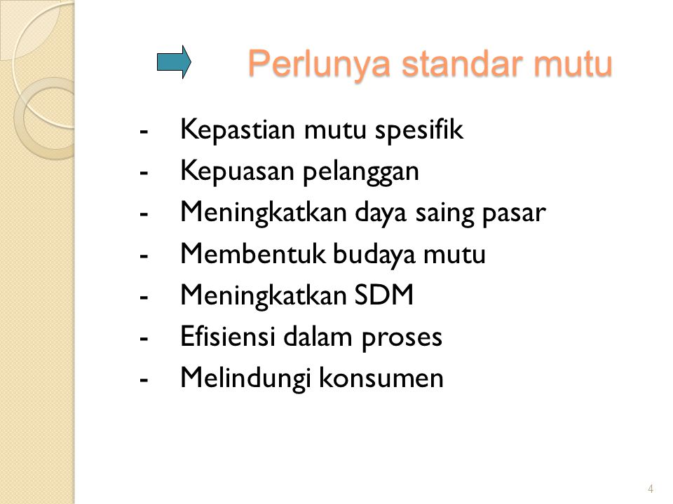 Perlunya standar mutu -Kepastian mutu spesifik -Kepuasan pelanggan -Meningkatkan daya saing pasar -Membentuk budaya mutu -Meningkatkan SDM -Efisiensi
