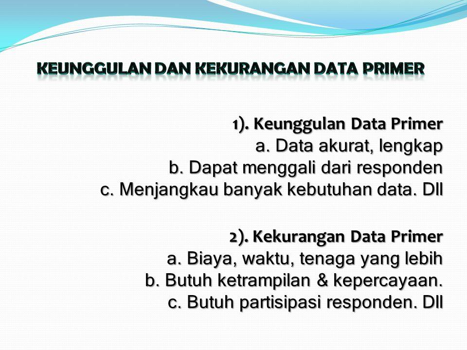 1). Keunggulan Data Primer a. Data akurat, lengkap b. Dapat menggali dari responden c. Menjangkau banyak kebutuhan data. Dll 2). Kekurangan Data Prime