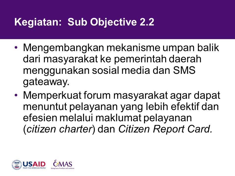 Kegiatan: Sub Objective 2.2 •Mengembangkan mekanisme umpan balik dari masyarakat ke pemerintah daerah menggunakan sosial media dan SMS gateaway. •Memp