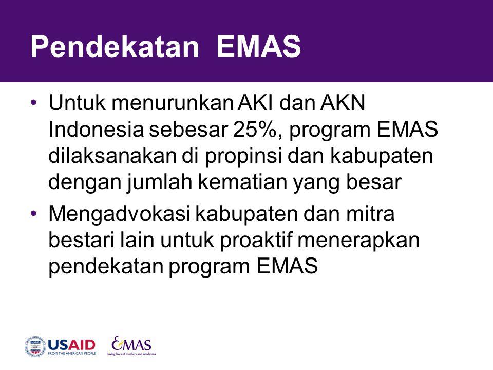 Pendekatan EMAS •Untuk menurunkan AKI dan AKN Indonesia sebesar 25%, program EMAS dilaksanakan di propinsi dan kabupaten dengan jumlah kematian yang b