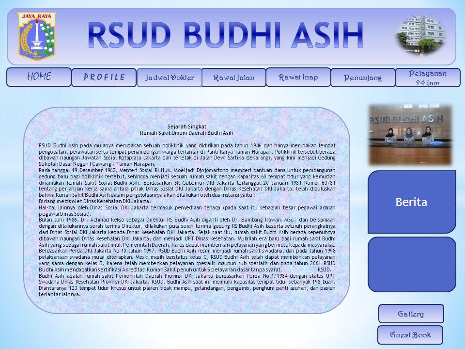 HOME Rawat Jalan Rawat Inap Penunjang Pelayanan 24 jam Jadwal Dokter P R O F I L E Gallery Guest Book Sejarah Singkat Rumah Sakit Umum Daerah Budhi As
