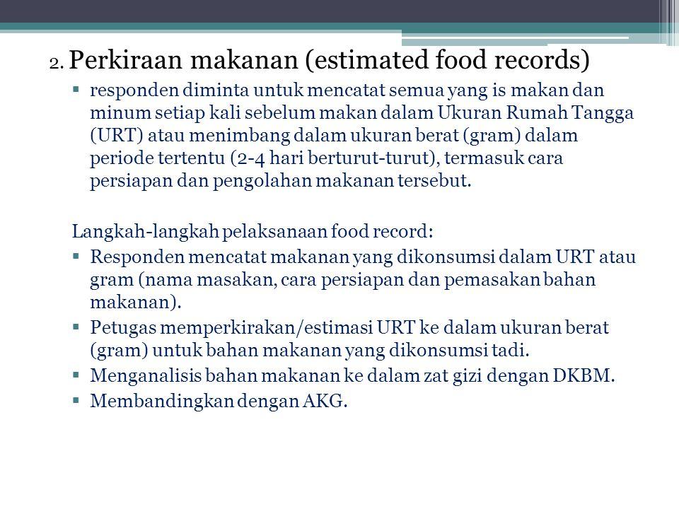 2. Perkiraan makanan (estimated food records)  responden diminta untuk mencatat semua yang is makan dan minum setiap kali sebelum makan dalam Ukuran