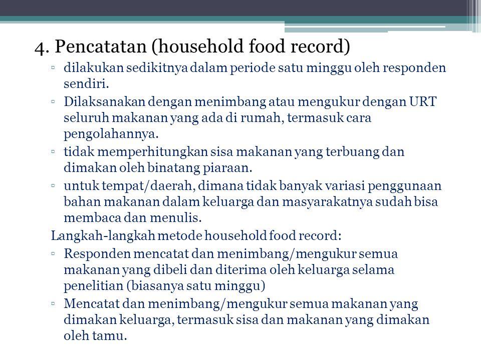 4. Pencatatan (household food record) ▫dilakukan sedikitnya dalam periode satu minggu oleh responden sendiri. ▫Dilaksanakan dengan menimbang atau meng