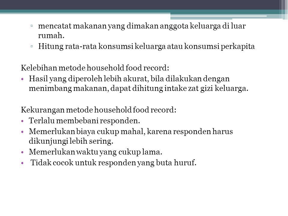 ▫mencatat makanan yang dimakan anggota keluarga di luar rumah.