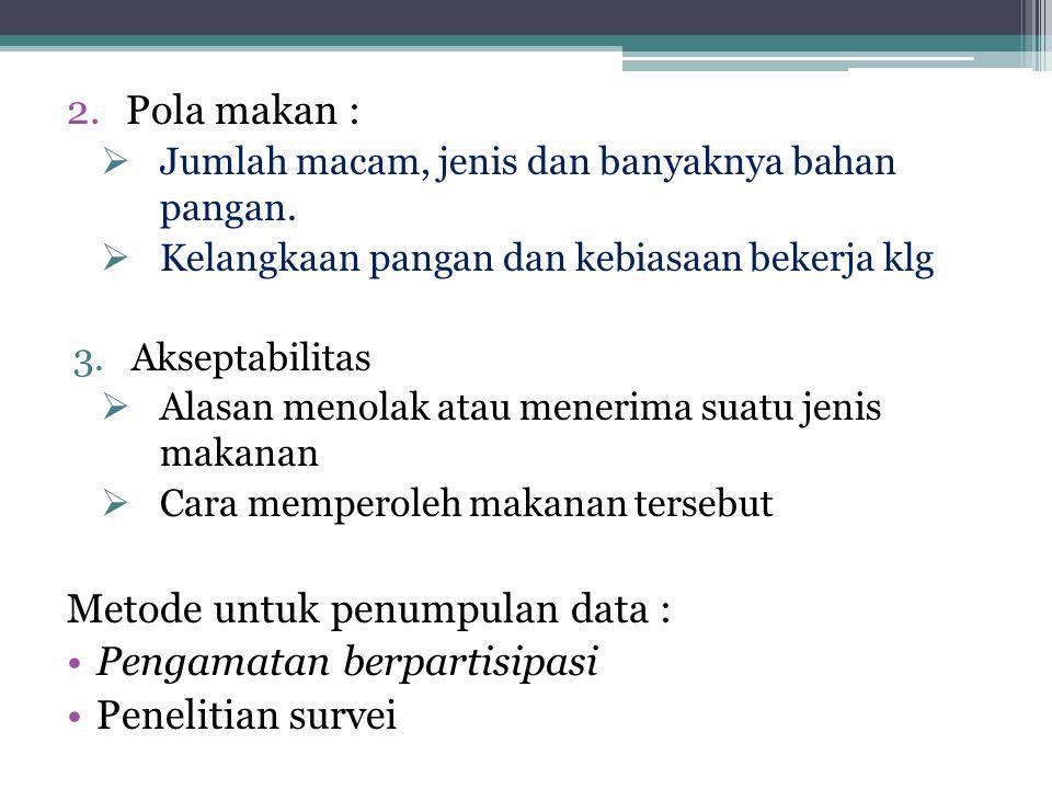 Metode untuk penumpulan data 1 : 1.