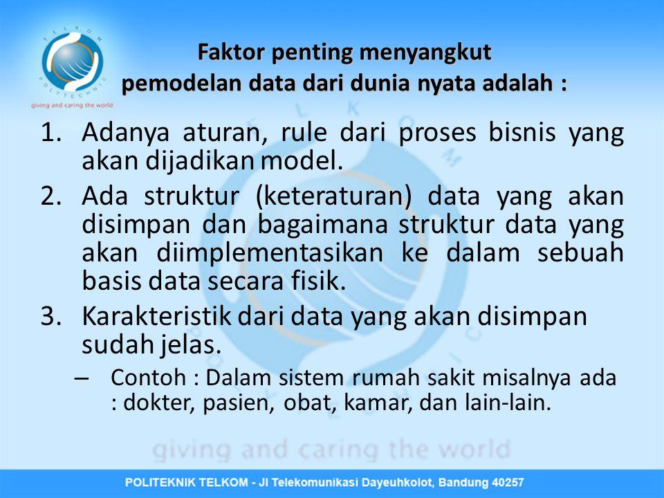 Faktor penting menyangkut pemodelan data dari dunia nyata adalah : 1.Adanya aturan, rule dari proses bisnis yang akan dijadikan model.