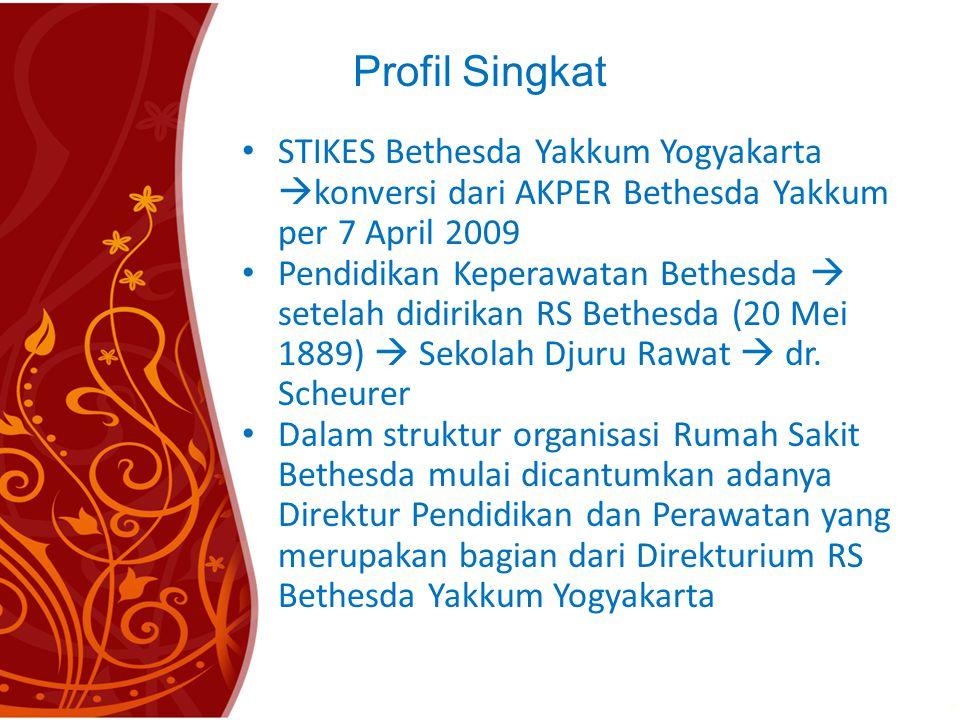 Profil Singkat • STIKES Bethesda Yakkum Yogyakarta  konversi dari AKPER Bethesda Yakkum per 7 April 2009 • Pendidikan Keperawatan Bethesda  setelah didirikan RS Bethesda (20 Mei 1889)  Sekolah Djuru Rawat  dr.