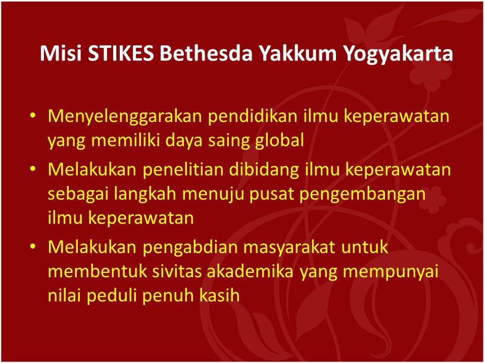 Misi STIKES Bethesda Yakkum Yogyakarta • Menyelenggarakan pendidikan ilmu keperawatan yang memiliki daya saing global • Melakukan penelitian dibidang