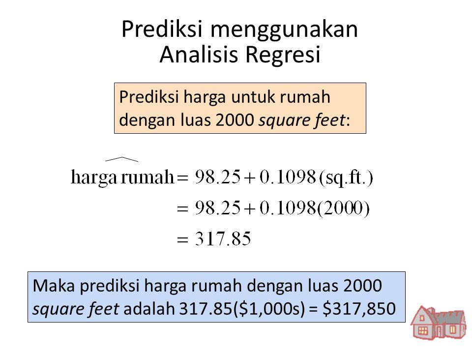 Prediksi harga untuk rumah dengan luas 2000 square feet: Maka prediksi harga rumah dengan luas 2000 square feet adalah 317.85($1,000s) = $317,850 Pred