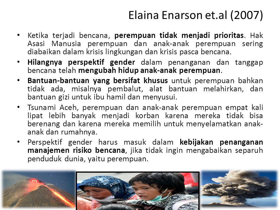 Elaina Enarson et.al (2007) • Ketika terjadi bencana, perempuan tidak menjadi prioritas. Hak Asasi Manusia perempuan dan anak-anak perempuan sering di